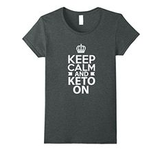 Women's Keep Calm Keto On Funny T-shirt Ketogenic Diet Low Carb Large Dark Heather >>> Click on the sponsored Amazon image for additional details. #bodybuilding