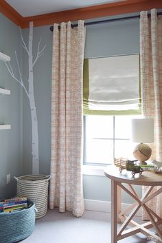 kravet city squares linen custom curtains in orange how to know when to use what curtains PB Essential curtain rod-3