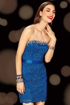 Strapless Short Blue Lace Sheath Column Homecoming Dress With Pleating