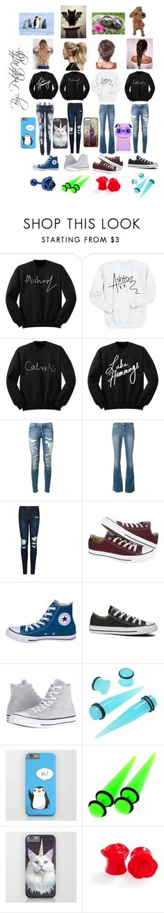 """5sos"" by potatokitty ❤ liked on Polyvore featuring Hudson, MICHAEL Michael Kors, J Brand and Converse"