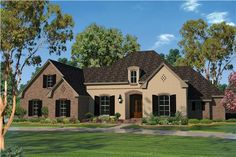 This beautiful country style home design (House Plan # 142-1101) has over 2500 square feet of living space. The 1 1/2 story floor plan includes 4 bedrooms and 2 1/2 bathrooms. | The Plan Collection