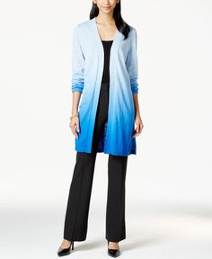 Ny Collection Ombre Print Duster Cardigan