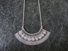 Silver necklace, Filigree silver  necklace, Yemenite jewelry, Israel jewelry on Etsy, $152.00