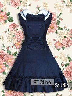 lolita dress | Blue Long Sleeves Lace Cotton Gothic Lolita Dress Lolita Clothing