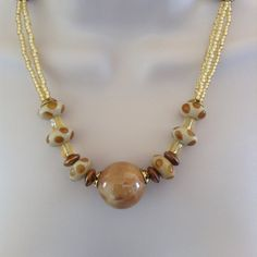 Tan and Yellow Bead Necklace and Earring set by WirednStrung