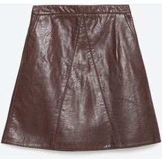Zara Faux Leather Skirt (€36) via Polyvore featuring skirts, burgundy, burgundy faux leather skirt, red faux leather skirt, fake leather skirt, imitation leather skirt and faux leather skirt
