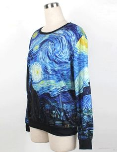 Blue Oil Painting Print Sweatshirt $29.98