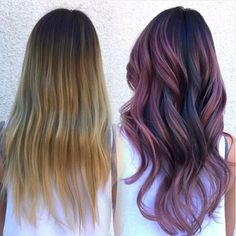 By hair color balayage, ombre hair color, violet hair co Ombre Hair Color, Hair Color Balayage, Ash Color, Hair Colour, Violet Hair, Purple Hair, Highlights Curly Hair, Gray Highlights, Watercolour Hair
