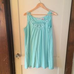 "Delicate Lace Tank top NWOT!   Longer length Mint Green tank with lace straps/neck. Length: 33"". Armpit 22"".  Size Large (18w-20w). Roamans Tops Tank Tops"