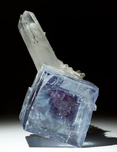 Unusual combination of Fluorite with blue Cerussite crystals & Calcite - Okorusu Mine, Namibia / Mineral Friends <3
