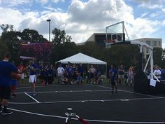 """First Team's """"Tempest Triumph"""" portable basketball goal used a The University of Kansas basketball tournament."""