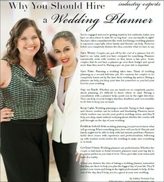 Why you should hire a wedding planner- as seen in The Wedding Planner Magazine 2015 Summer issue