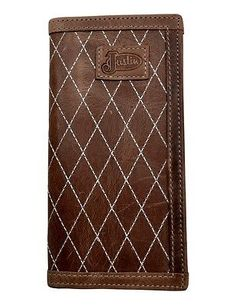 Justin Western Wallet Men Rodeo Leather Quilt Slots Light Brown WJB214