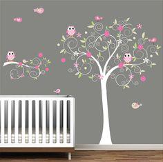 Nursery Wall Tree Decal Nursery Owl wall decal