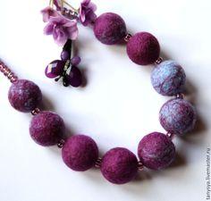 Mommy Necklace, Felt Necklace, Teething Necklace, Wet Felting, Needle Felting, Felted Wool Crafts, Felt Ball, Collars, Felt Flowers