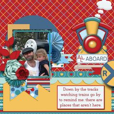 A picture of my daughter and my husband.  Kit used: All Aboard by BoomersGirl Designs available at http://store.gingerscraps.net/All-Aboard.html  Template by Connie Prince.
