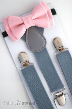 SUSPENDER & BOWTIE SET.  Light grey suspenders. Blush pink denim bow tie. Newborn - Adult sizes.