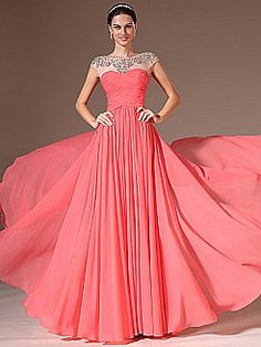 Rhinestoned Sheer Neckline Chiffon A Line Prom Dress - USD $142.98