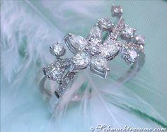 Femininer Brillanten / Diamanten Ring im Blüten-Design » Juwelier Schmucktraeume.com