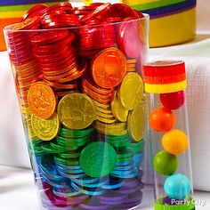 Chocolate coins in rainbow colors?! Yes please! Layer them in a clear container and they're even more irresistible. :)