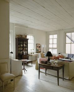 LOVE the white wood floor!