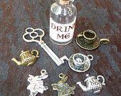Wholesale Lot Steampunk key Alice in Wonderland necklace pendant charm Drink me bottle tea cup tea pot rabbit 70 antique silver bronze brass