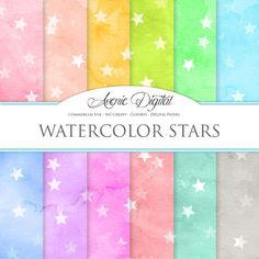 Watercolor Stars Digital Paper. Scrapbooking by AvenieDigital