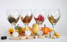 Autumn/ Fall woodland gold leaf design hand painted wine glasses in a set of 4.  FREE personalization and dishwasher safe