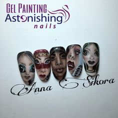 Faces gel painting nail art