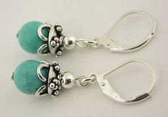 Turquoise Sterling Silver Lever Back Earrings 23 by 57north, $18.99
