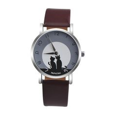 Sweet moonlit cats in silhouette quartz watch with brown strap. Various colors available. The perfect accessory for every cat lover. Shop now.
