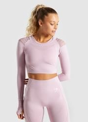 55a0eefbb0e5b Gymshark Flawless Knit Long Sleeve Crop Top - Washed Lavender Gym Tops
