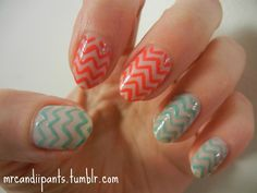 nail art. So cute! If they were all red and white it would be Christmas-y!