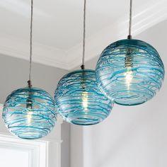Swirling Glass Globe Mini Pendant Light - All For Decoration Beach Lighting, Coastal Lighting, Coastal Decor, Coastal Light Fixtures, Lighting Ideas, Coastal Chandelier, Coastal Bedding, Coastal Furniture, Modern Coastal