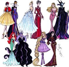 "Disney Diva: ""Princess vs Villainess"" by Hayden Williams Fashion Illustrations Hayden Williams, Disney Magic, Disney Art, Walt Disney, Cute Disney, Disney Style, Moda Disney, Modelos Victoria Secret, Disney Mignon"