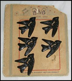 Black Bakelite Bird Buttons ~ try and say that real fast ;)