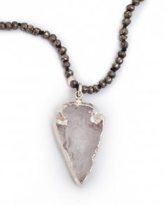 Silver electroformed Quartz Arrowhead on Pyrite and Sterling Necklace. By Sea+Stone