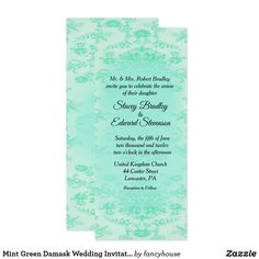 Mint Green Damask Wedding Invitation