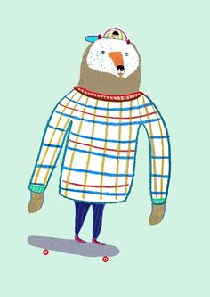 kids art print decor poster art print hipster art animal nursery decor - 'Big Bear Skater'.