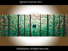 "Owl Painting Original Acrylic Painting Impasto Painting Tree Painting landscape Painting Wall Décor ""Our Secret World II"""