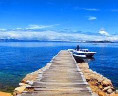 La Isla del Sol from Copacabana Bolivia on Lake Titicaca