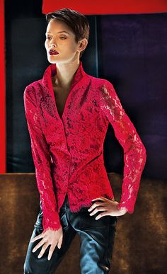This red lace can make any basic pair of pants pop! Coming soon to Naracamicie San Francisco Mandarin Collar, Red Lace, Stage, Leather Jacket, Blazer, How To Make, Pants, Jackets, Shirts