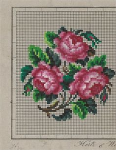 Beautiful Rose Trio - Berlin WoolWork Roses Pattern Produced By Hertz & Wegener Berlin