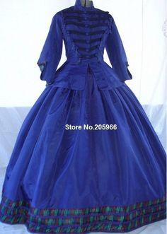 NACH MAß 1860 s Bürgerkrieg Viktorianischen Militärischen Stil Tag Kleid/Ereignis Kleid/Urlaub kleid