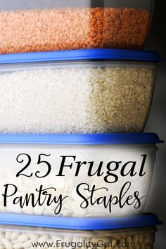 25 Kitchen and Pantry Staples to always have on hand. By keeping these frugal foods on hand, you'll be able to make a variety of frugal meals and always have an inexpensive base of ingredients to use when creating your meal plan!