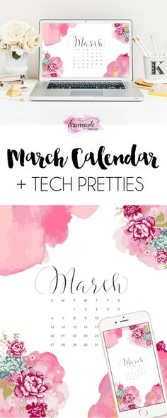 March 2016 Calendar + Tech Pretties |dawnnicoledesigns.com
