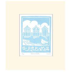 Hand Printed 'Beach Huts' Lino Print
