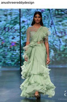 Ruffles + Sarees : the trend of 2019 Sari Design, Sari Blouse Designs, Saree Draping Styles, Saree Styles, Saree Gown, Satin Saree, Lehenga, Indian Dresses, Indian Outfits