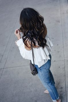 MOON RIVER RUFFLE TOP AND H&M STRAIGHT JEANS