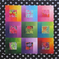 This quilt takes advantage of the color and value gradations of ombré fabrics. By orienting the strips around the center square so that the light ends are in the upper right of each block and the dark ends in the lower left, you can suggest a sweep of light from a side source. Lustrous Squares by Christine Barnes